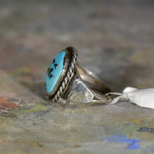 Load image into Gallery viewer, Vintage silver and turquoise ring. Size 11