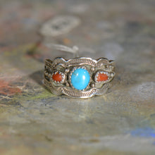 Load image into Gallery viewer, Vintage silver coral and turquoise ring. Size 12