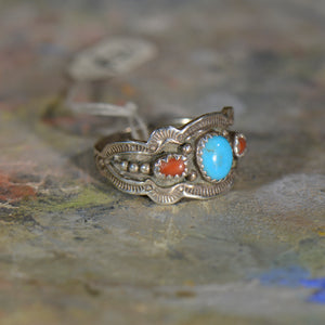 Vintage silver coral and turquoise ring. Size 12