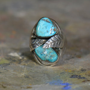Vintage silver and turquoise ring. Size 10.25
