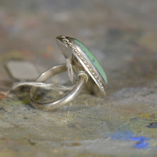 Load image into Gallery viewer, Vintage silver and turquoise ring. Size 8.5