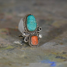Load image into Gallery viewer, Vintage silver turquoise and coral ring. Size 6.5