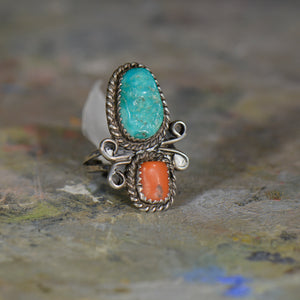 Vintage silver turquoise and coral ring. Size 6.5