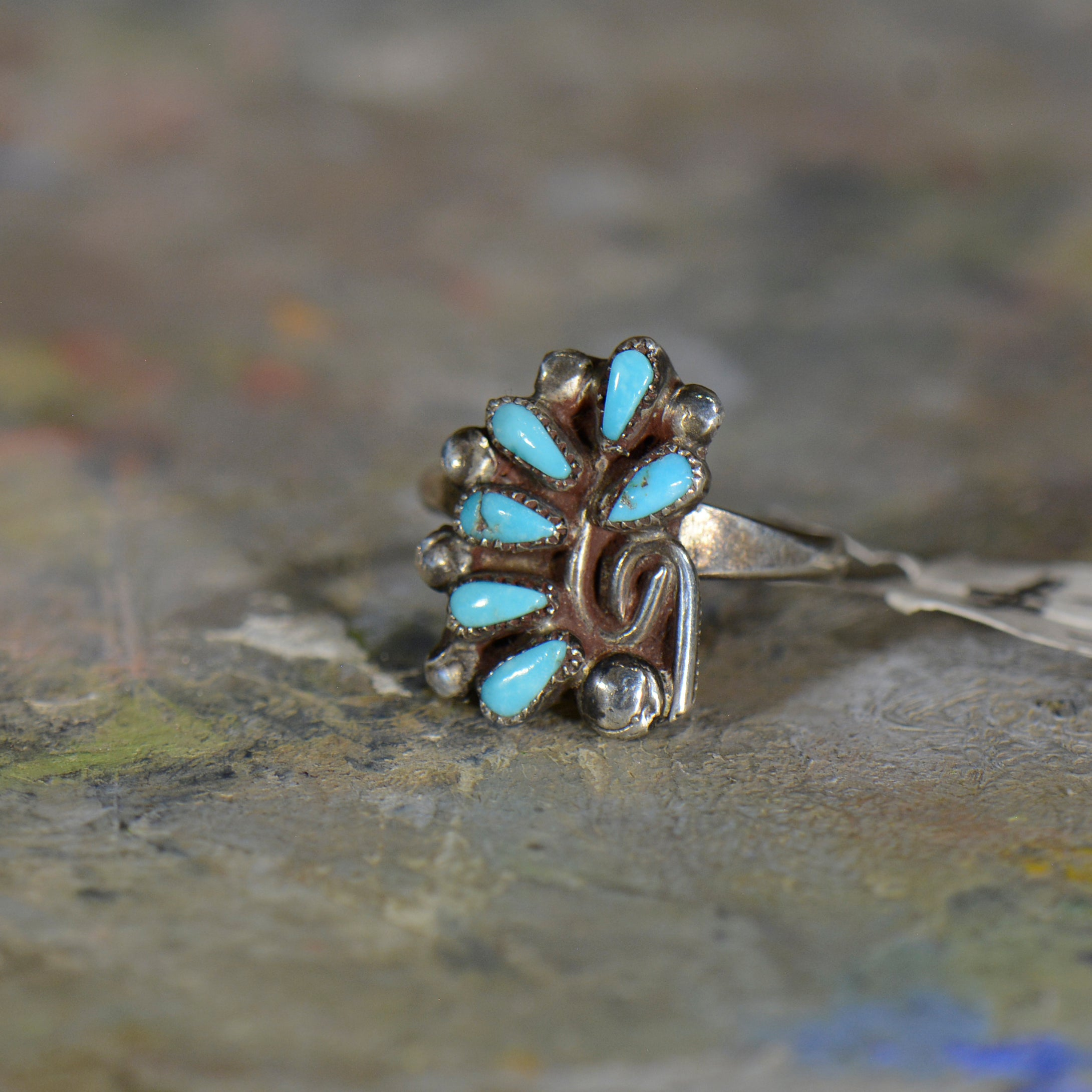 Vintage silver and turquoise ring. Size 6.5
