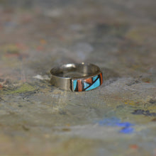 Load image into Gallery viewer, Vintage silver coral and turquoise ring. Size 7.5
