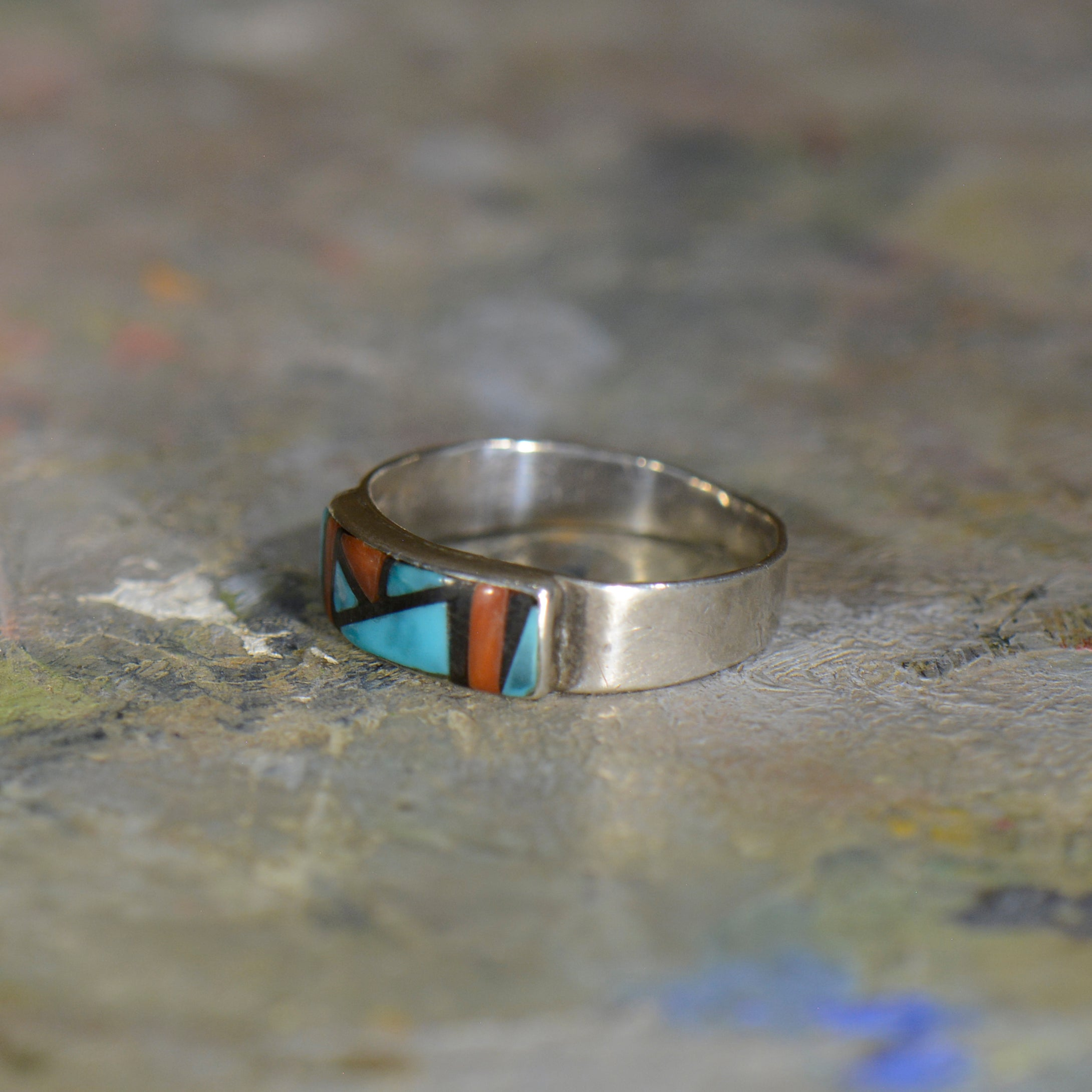 Vintage silver coral and turquoise ring. Size 7.5