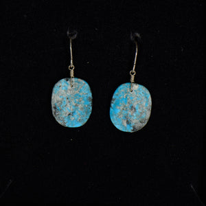 Silver slab turquoise earrings.