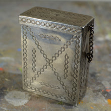Load image into Gallery viewer, Silver and turquoise cigarette case.