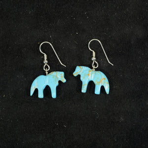 Silver turquoise earrings.