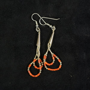 Silver coral earrings.