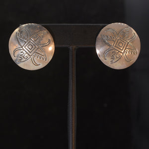 Shield style silver earrings