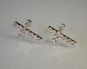 Cross style Gold and Diamond Earrings