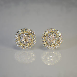 Shield style Gold and Diamond Earrings