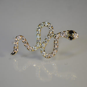 Snake style Gold and Diamond Earrings
