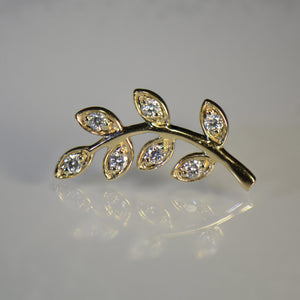 Leaf style Gold and Diamond Earrings