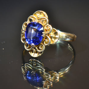 Vintage Estate Ring, 14 carat yellow gold and blue stone ring.  Size 5.25