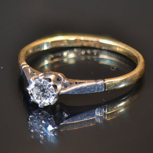 Vintage Estate Ring, 18 carat yellow gold, Platinum and Diamond ring. Size 6.25