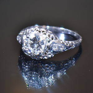 Vintage Estate Ring, Platinum and Diamond, size 6