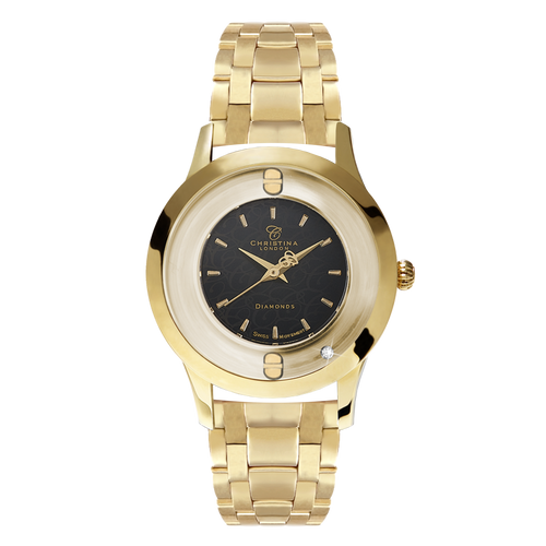 The Original, a Ladies Collect Watch with One White Real Diamond  and a Gold Plated Steel Bracelet