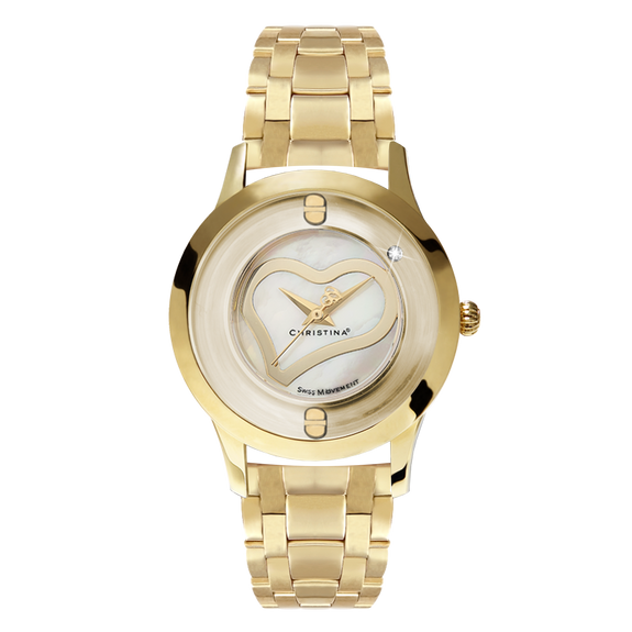 Love, a Ladies Collect Watch with One White Real Diamond  and a Gold Plated Steel Bracelet