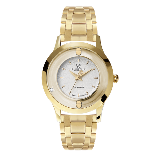 Original, a Ladies Collect Watch with One White Real Diamond  and a Gold Plated Steel Bracelet