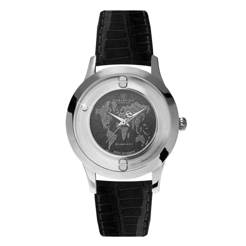 World, a Ladies Collect Watch with One White Real Diamond  and a Black Leather Strap
