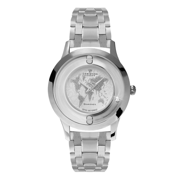 World, a Ladies Collect Watch with One White Real Diamond  and a Silver Finished Steel Bracelet