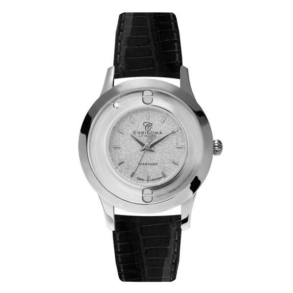Magic, a Ladies Collect Watch with One White Real Diamond  and a Black Leather Strap