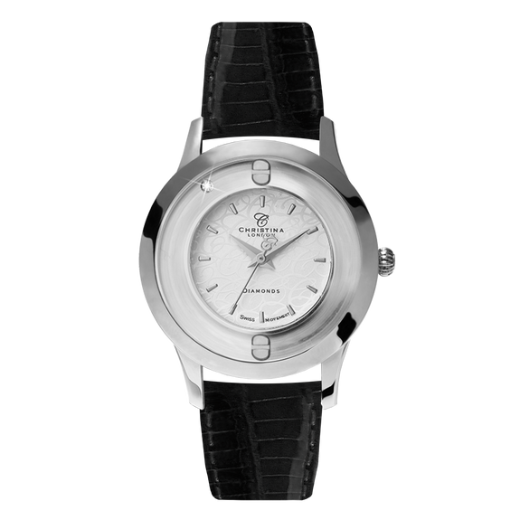 Original, a Ladies Collect Watch with One White Real Diamond  and a Black Leather Strap