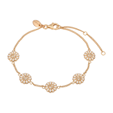 Load image into Gallery viewer, Marguerite Field Bracelet Gold and White with Gemstones