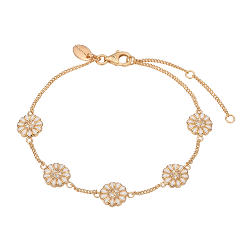 Marguerite Field Bracelet Gold and White with Gemstones