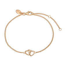 Load image into Gallery viewer, Double Hearts Bracelet in Solid Silver and plated in 18ct Gold