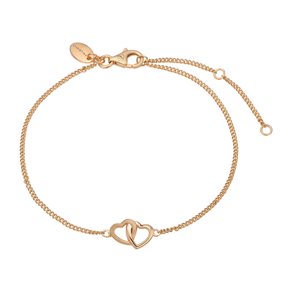 Double Hearts Bracelet in Solid Silver and plated in 18ct Gold