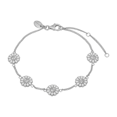 Load image into Gallery viewer, Marguerite Field Bracelet Silver and White with Gemstones