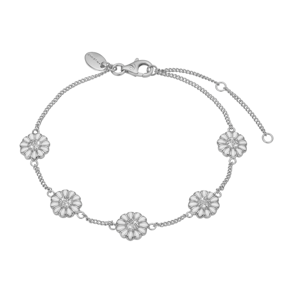Marguerite Field Bracelet Silver and White with Gemstones