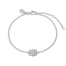 Load image into Gallery viewer, This beautifully designed and handcrafted Hamsa Bracelet takes inspiration from two Mediterranean amulets, that are believed to offer the wearer heavenly (hand of God) protection for wearer from the evil eye. For that special touch and to make our Bracelet Collection even more special, all the Bracelets in our collection are delicately and expertly handcrafted in Sterling Silver and finished with either 18ct Gold or Rhodium Plating. The Hamsa Pendent is further embellished with 7 Real Gems (Topaz & Garnet)