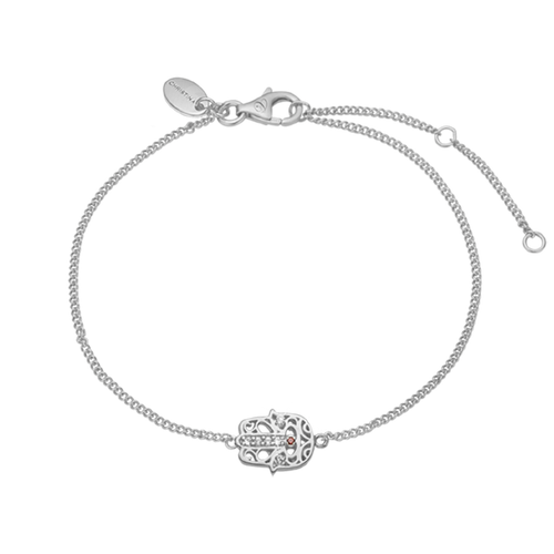 This beautifully designed and handcrafted Hamsa Bracelet takes inspiration from two Mediterranean amulets, that are believed to offer the wearer heavenly (hand of God) protection for wearer from the evil eye. For that special touch and to make our Bracelet Collection even more special, all the Bracelets in our collection are delicately and expertly handcrafted in Sterling Silver and finished with either 18ct Gold or Rhodium Plating. The Hamsa Pendent is further embellished with 7 Real Gems (Topaz & Garnet)