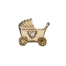 Load image into Gallery viewer, The New Arrival Charm delicately handcrafted in Sterling Silver in the shape of a baby's pram, decorated with two heart-shaped Real Topaz Gemstones to express eternal love for the new born child. What can be better to symbolise such a wonderful time filled with lots of fun, love, and cuddles.