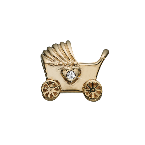 The New Arrival Charm delicately handcrafted in Sterling Silver in the shape of a baby's pram, decorated with two heart-shaped Real Topaz Gemstones to express eternal love for the new born child. What can be better to symbolise such a wonderful time filled with lots of fun, love, and cuddles.