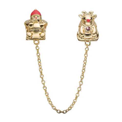 Make a statement this Christmas with the Christmas Safety Chain, depicting Santa at one end with a Merry Christmas belt and Rudolph proudly showing of his red nose and decorated with a Real Ruby on its collar. Handcrafted in Sterling Silver and finished with 18ct Gold or Rhodium Plating