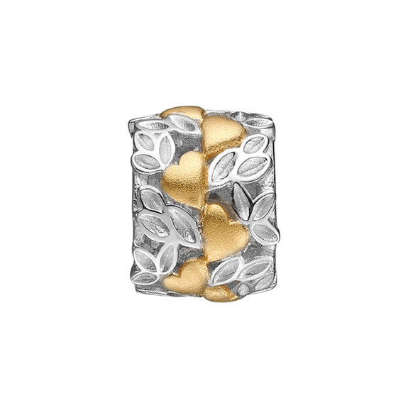 Love Nature is an absolutely outstanding handcrafted charm with multiple garlands of hearts and leaves, celebrating the feeling that being in love brings.  A truly stand out ring for any occasion., Love Nature, handcrafted in Sterling Silver finished in Gold or Rhodium Plating. Also available Two Tone silver & gold..