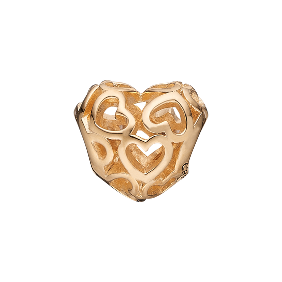 Heart Beat Love Bead Charm Gold
