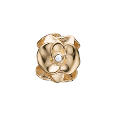 Load image into Gallery viewer, Topaz Orchid Bead Charm Gold with Gemstones