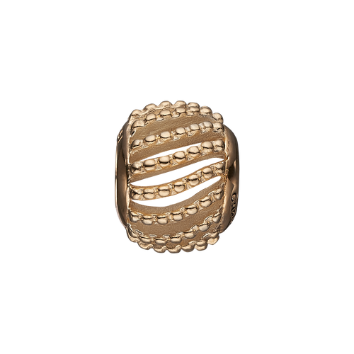 Dotted Line Bead Charm Gold
