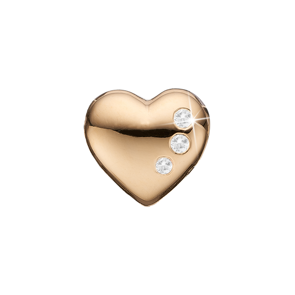 Petite Secret Hearts Bead Charm Gold with Gemstones