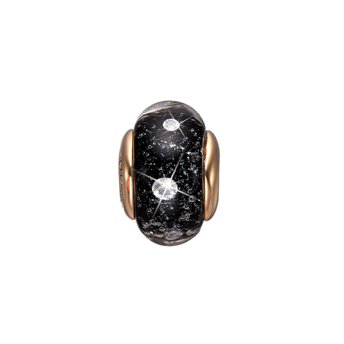 Black Topaz Murano Glass Gold with Gemstones