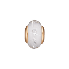 Load image into Gallery viewer, White Topaz Globe Murano Glass Gold with Gemstones