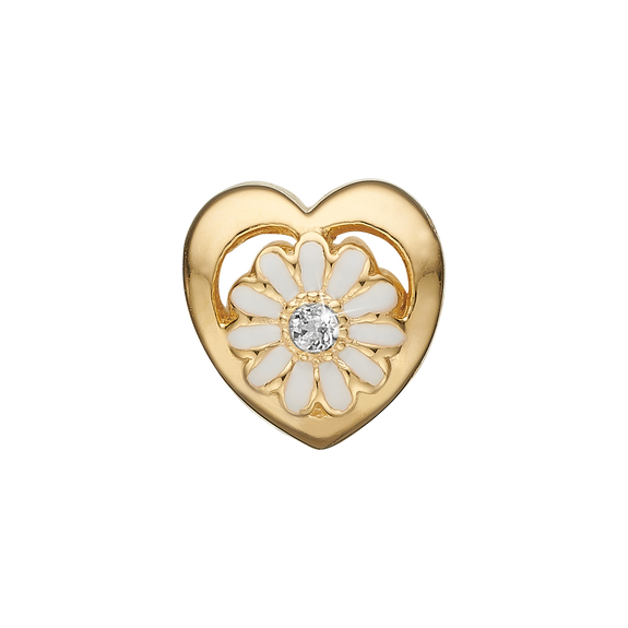 Marguerite LG Diamond Bead Charm Gold and White with Gemstones