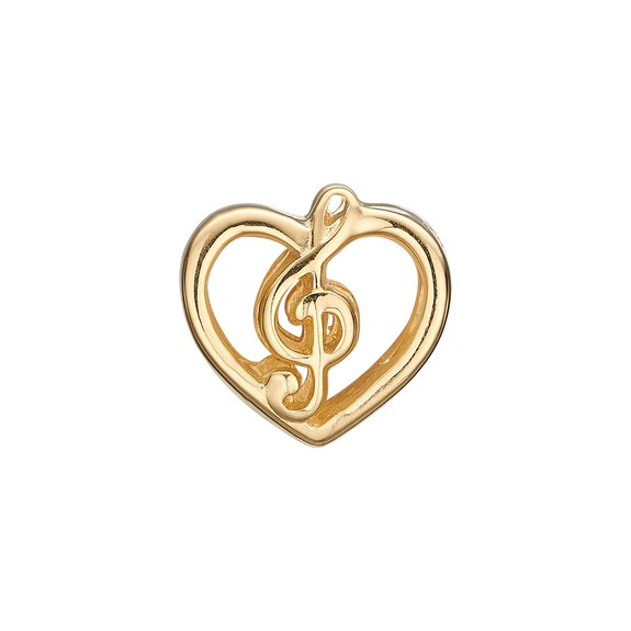 Music Love Bead Charm Gold