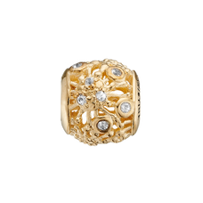 Load image into Gallery viewer, Fireworks are synonymous with happy events and celebrations, it being a birth, a wedding, holidays, festival and even coronations This stunning Fireworks Charms has six White Real Topaz Gemstones at the end of the engraved and laced smoke trails bring that celebration sensation onto your wrist. What special celebration will this charm remind you of? Charm is handcrafted in Silver and finished with either an 18ct Gold or Rhodium Plating